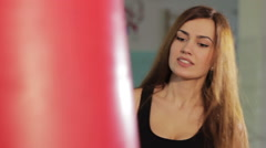 Girl in boxing hall - stock footage