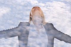Business woman businesswoman freedom concept free manager clouds sky double e Stock Photos