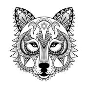 Vector ornamental Wolf, ethnic zentangled mascot, amulet, mask o - stock illustration