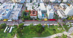 Time lapse aerial video of Ocean drive. Stock Footage