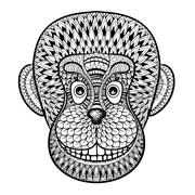 Coloring pages with head of Monkey, Gorilla, zentangle illustrat Stock Illustration