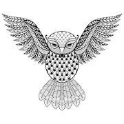 Stock Illustration of Zentangle vector Owl for adult anti stress coloring pages. Ornam