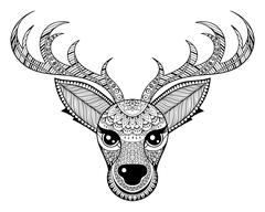 Zentangle vector Reindeer for adult anti stress coloring pages Stock Illustration
