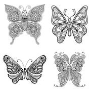 Zentangle vector black Butterflies set  for adult anti stress co - stock illustration