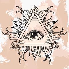 Vector All seeing eye pyramid symbol. Illumination tattoo. Vinta - stock illustration