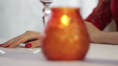 girl and guy romantic dinner - stock footage