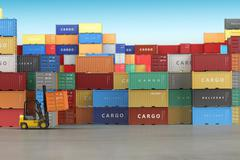 Delivery or warehouse  background concept. Cargo shipping containers in stora Stock Illustration
