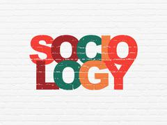 Stock Illustration of Studying concept: Sociology on wall background