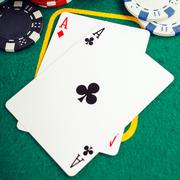 poker two aces - stock photo