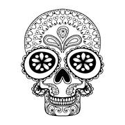 Hand drawn Skull in zentangle style, tribal totem for tattoo, ad Stock Illustration