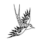 Hand drawn tribal Swallow, bird totem for adult Coloring Page or Stock Illustration