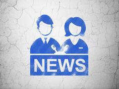 News concept: Anchorman on wall background Piirros