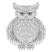 Hand drawn zentangle Owl, bird totem for adult Coloring Page in - stock illustration