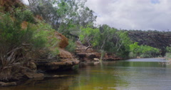 Murchison River and red rocks, Kalbarri National Park, Western Australia Stock Footage