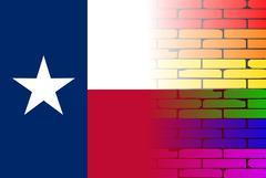 Gay Rainbow Wall Texan Flag - stock illustration