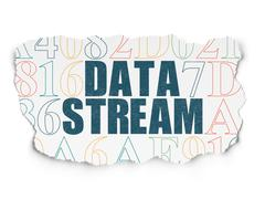 Information concept: Data Stream on Torn Paper background Stock Illustration