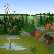View of landscape of spring town from hil - stock illustration