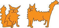 Cartoon Fluffy Cat Sitting and Standing - stock illustration