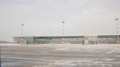 Riga International Airport in winter Stock Footage