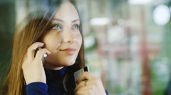 Portrait of a beautiful girl shopaholic Stock Footage