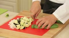 Chopping food ingredients Stock Footage