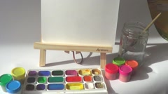 Painting with watercolors - stock footage