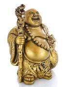 Figurine Cheerful Hotei on a white - stock photo