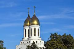 Golden domes of Christ the Savior. Kaliningrad, Russia - stock photo