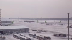 Snow Covered Airport In Riga Stock Footage