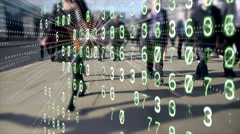 Mobile devices emitting data from commuting office workers. Stock Footage