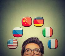 Work and travel opportunity concept. Foreign language studying process. Woman - stock photo