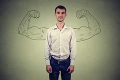 Powerful man reality vs ambition wishful thinking concept. - stock photo