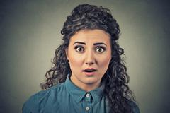 Concerned scared shocked woman Stock Photos