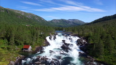 Waterfall Likholefossen in Norway, aerial view Stock Footage
