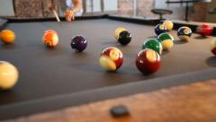 Pool Table Break to Start Game Stock Footage