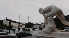 Classical greek sculpture/statue,tracking shot ,Panathenaic stadium Stock Footage