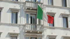 Italian flag in the wind - stock footage
