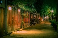 Kyoto street at night with restaurants and bars Stock Photos
