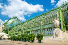 Palm and Butterfly house in Vienna Burggarten, Austria - stock photo