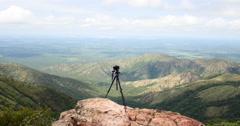 4K On Top of Mountain. Chapada dos Guimaraes, Brazil. Photographer Stock Footage