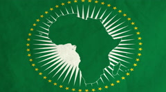 African Union flag waving in the wind (full frame footage) Stock Footage