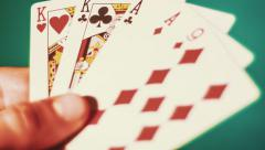 Poker - Two Pairs On The Green Background Stock Footage
