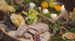 Eco forest wedding salty bar catering Stock Footage
