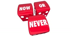 Now or Never Rolling Dice Take Chance Opportunity Animation 4K Stock Footage