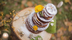 Eco forest wedding naked cake concept Stock Footage