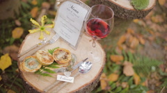 Eco forest wedding  wedding table Stock Footage