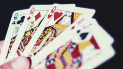 Poker - poker three of a Queen On The Black Background Stock Footage