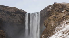 4K Time lapse tilt shot down Skogafoss waterfall - stock footage