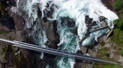 Flying above river with rapids in Norway Stock Footage