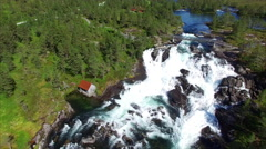 Likholefossen waterfall in Norway, aerial view Stock Footage